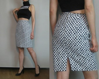 80s SCRIBBLE CIRCLES DOTS vtg Black and White Rayon Body Con High Waist Wiggle Pencil Mini Skirt xs Small 1980s