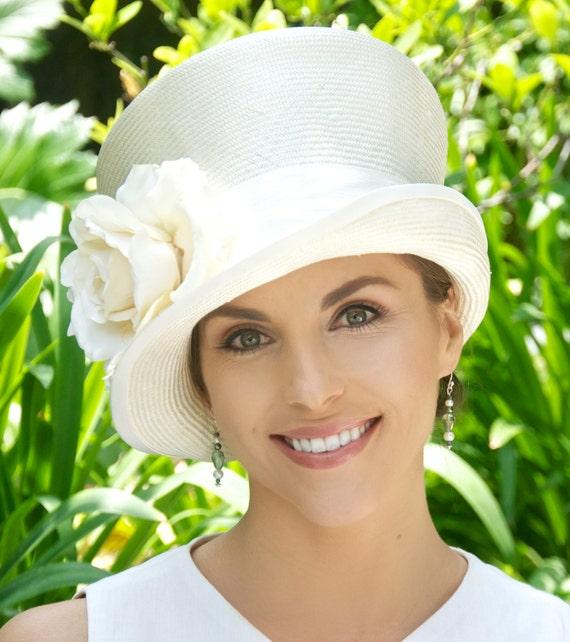 Women's Ivory Formal Hat, Wedding Hat, Church Hat, Women's Cream Straw Hat, Elegant Hat, Special Occasion Hat, Event Hat, Downton Abbey Hat