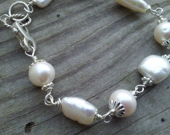 Sterling Silver and Freshwater Pearls Bracelet