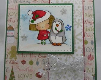 Handmade Card, Greetings, Gift, Christmas, Winter, Penny Black, Mimi Christmas Penguin with Girl
