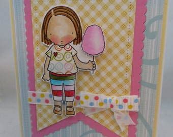 Sending Sweet Treats Girl Blank NoteCard, Greetings Card, Handmade Card
