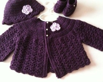Crochet Baby Sweater Hat Booties Set Plum 3 to 6 months