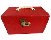 Vintage Faux Reptile Travel Case, Vintage Train Case, Makeup Case, Red Travel Case