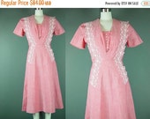 40% OFF 50s Dress Vintage 1950s Pink Day Adrian Tabin Pinafore Style Faded White Embroidered M
