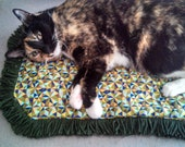 Catnip Crinkle Mat Tiny Triangles  Pattern  Toy Bed w Two choices of Fringe Recycled/upcycled