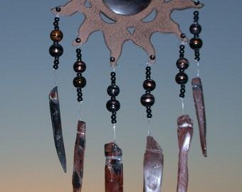 Suncatcher/ Wind Chime Flame Obsidian Sunshine