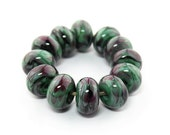 Sheribeads Glass Beads 12 Watercolor Twilight Sherwood Spacers Lampwork Green Black Purple