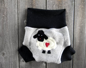 Upcycled  Wool Soaker Cover Diaper Cover With Added Doubler Black / Light Gray With Baa Baa Sheep Applique MEDIUM 6-12M Kidsgogreen