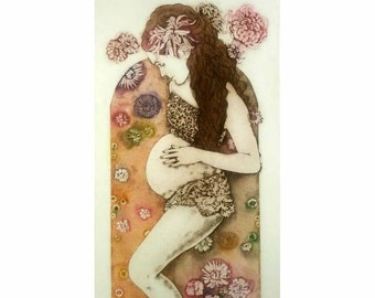 Etching / limited edition original etching (printmaking / graphic art) / original print / pregnant woman art - 'In a Bath of Blossoms'