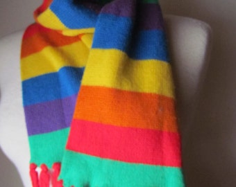 Vintage rainbow Brite Striped Pride Scarf 1970's 80's Retro