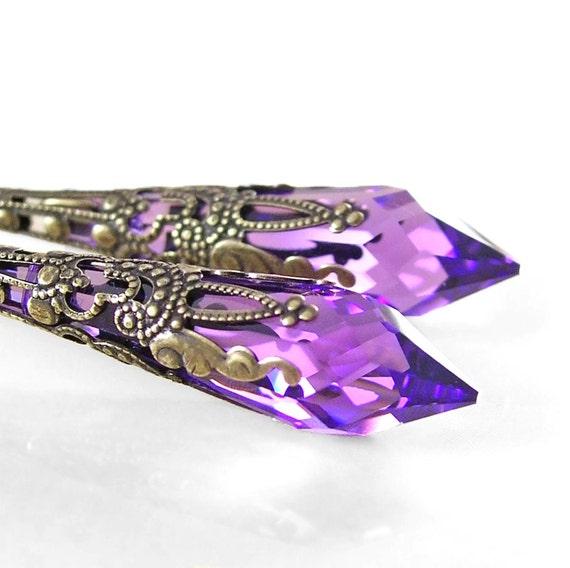 Purple Swarovski Crystal Earrings Antique Gold Brass Long Earrings Purple Crystal Drop Earrings Violet Amethyst Earrings Victorian Jewelry