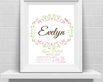 Baby gift NURSERY PRINT floral New baby Personalized Monogram Custom Girls print nursery print monogram modern wall decor