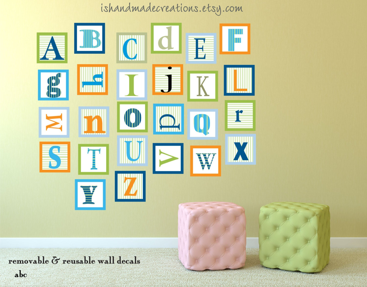 Alphabet Fabric Wall Decal Repositionable Wall Decal ABC Wall Decal ...
