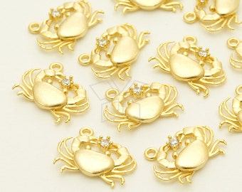 PD-1331-MG / 2 Pcs - Tiny Baby Crab Charm Pendant, June July Zodiac Cancer, Matte Gold Plated over Brass / 14mm x 10mm