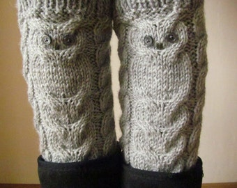 Owls Grey Hand Knitted Boot Cuffs, Woman Leg Warmers, Boot Toppers