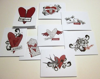 Set of 8 Valentines or Love Notes - Tattoo Art - Hopelessly Devoted Collection
