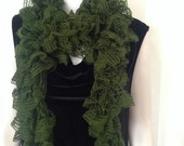 Scarf, hand knit, variegated, green, wonderful, super soft and stylish, new lace fashion  spring and summer