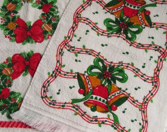 Vintage B & D Christmas Towel Dish or Hand Towels Kitchen Terry Cotton Set of 2 Wreath Bell Design