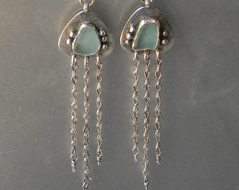 Blue Beachglass and Sterling Silver Earrings