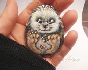 Hedgehog No.7  Handpainted rock painting painted stone miniature painted rock pebble fine art