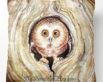 Pillow..PRINT art.  .OWLY  - animal art - woodland art - fine art -living room - childrens room - nursery - babies -owl