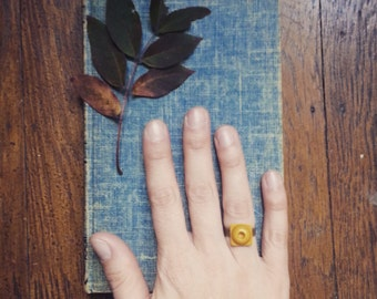 Ring Made From A Vintage Button, Retro Yellow Square Statement Ring, Adjustable Ring, Vintage Button Jewelry for Women and Teen Girls