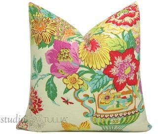 Decorative Pillow Cover - 20  inch -  Chinoiserie Pillow - Portobello Vase - Blossom - Pink - yellow - Aqua - ready to ship