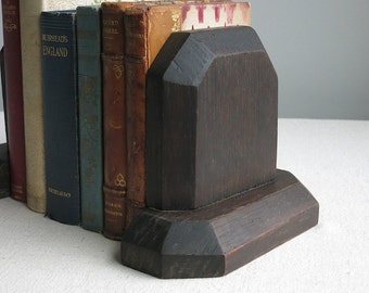 Vintage Arts and Crafts Oak Bookends - Mission Style Circa 1910  Antique Library Decor Wood Book Reader Gift - Stickley Style