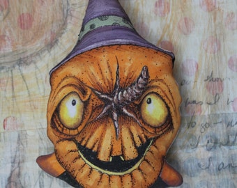 OOAK Handmade and Hand Painted JOL Witch Halloween Ornament With A Creepy Cute And Whimsical Folk Art Style Pumpkin Decoration