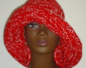 Delta Sigma Theta DST Stylish Crochet Floppy Wide Brimmed Hat with Earrings Sun Hat Razonda Royal Red and White Lee Razondalee Ready to Ship