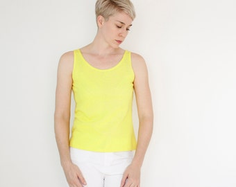 Vintage 60's simple lemon yellow tank top, textured polyester / cotton blend material, scoop neck, Catalina Jrs Brand - Small