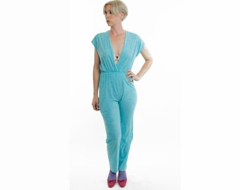Vintage 70's jumpsuit, lightweight terrycloth, turquoise, super deep v-neck, sleeveless, elastic waist, Sears -  Medium