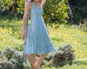 Midi Vintage Blue Linen Dress / Summer Dress / Pure Linen / Crinkled Linen / Boho Beach Dress / Hand Made