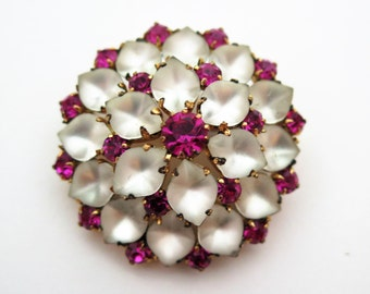 Vintage MADE IN AUSTRIA Pink Crystal Rhinestone & Frosted Stone Brooch Stunnng!
