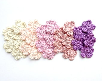 Purple flower applique - crochet flower embellishments - scrapbooking supplies - cotton flowers - tiny flower applique - set of 25  ~1 inch