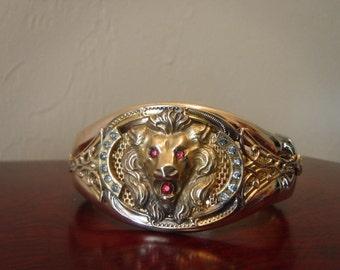 Antique Lion Head Bangle //FR2