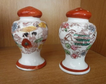 Vintage Nippon Salt and Pepper Shakers// asian//oriental// rusty red