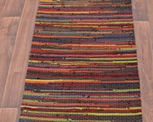 Handwoven Rug-Long Runner 25x103-Woven out of Recycled tshirts-Fall Colors- Red, Brown, Green, Orange, Gold, Rust. Washable & Reversible.