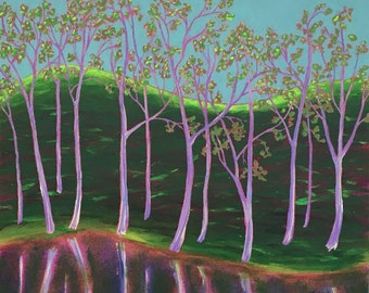 painting of spring hills, spring painting in vibrant greens, lake shore with reflections in spring