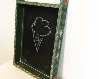 60s Vintage Hanging Handpainted Chalkboard, with a free ice cresm cone, green