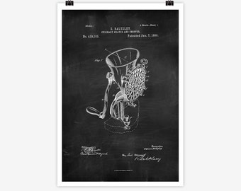 Patent Art Culinary Grater, 1890 - Large Patent Art Print Print Patent Art Print Wall Decor Vintage Art Patent Print Wall Hanging 07.