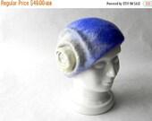 ON SALE Felt hat - felted wool hat - blue hat - winter hat - woman winter hat - blue white beret - wool beret - gift idea