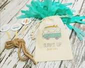 SURF'S UP VAN & Boards - Personalized Favor Bags - Set of 10 - Birthday - Surfing - Beach Party - Surfboard - Van -