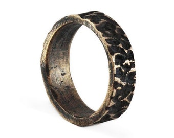 Bronze Wedding Band Oxidized Rustic Mens Rings Personalized Jewelry
