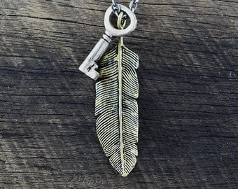 Antique Feather Key Necklace Silver Gold Mens Jewellery