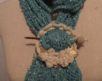 Scarf Holder....Neutral Tones...Great Scarf Jewelry...Golden Leaves