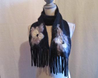 Large Ultra Soft Black Merino Wool Needle Felted Scarf......White and Grey Felting