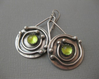 Solar System Earrings Medium Round Disk Sterling Silver Peridot Earrings