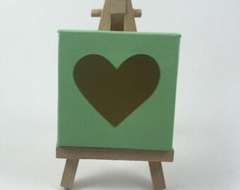 Gold Heart Mini Canvas