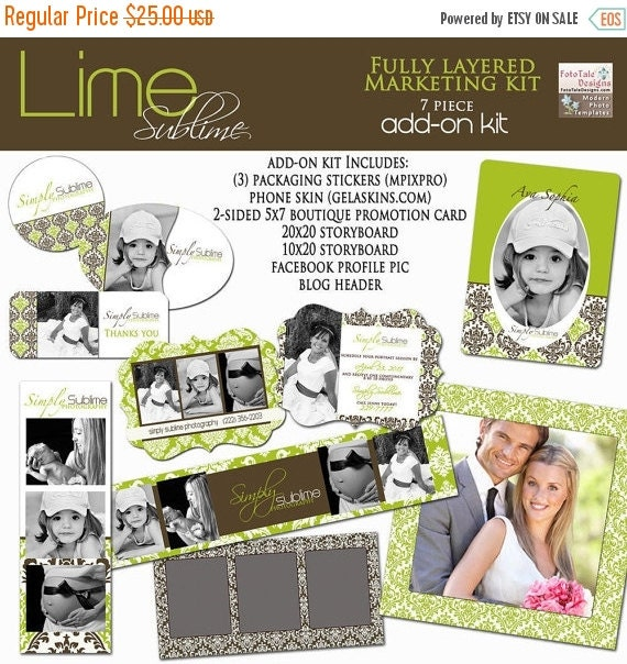 SALE ADD-ON Lime Sublime Marketing Template Collection- custom branding templates for photographers